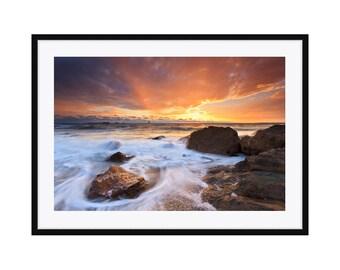 Framed Art, Ocean Photography, Beach Sunset Photo, Little Compton RI Rhode Island Picture Landscape Seascape Print Coastal Decor Blue Orange