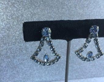 Vintage Rhinestone Earrings ~ Pretty Pale Blue Stones