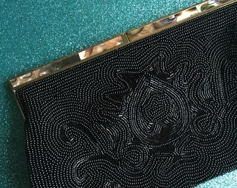 Heavily Beaded Black & Abalone Vintage Clutch Bag by Delill