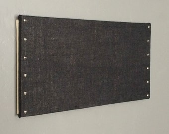 black burlap cork board with decorative tacks 12 x 24