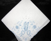 Gift for Bride from Mother, Handkerchief Letter Initial, Blue H, K, L, R or M,