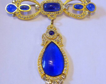 1980s Butler and Wilson Jewelry, Vintage Jewellery Wedding Brooches, Blue Brooch Bride Sash Pin