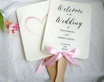 Wedding Fan Wedding Program Fans Blush Pink Purple Ivory Rustic Ceremony Program Fans Wedding Paddle Fan Program Fan Custom Any Color