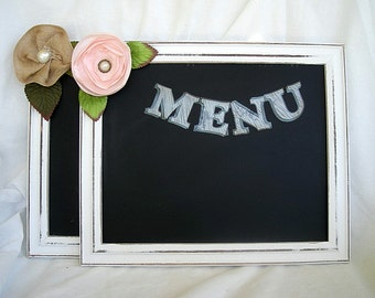 Chalkboard Wedding Sign White Frame Blackboard Distressed Table Menu Gifts Sign Direction Sign w Stand Rustic Shabby Chic White Wood Wedding