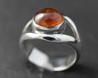 Sterling silver and spessartite garnet ring