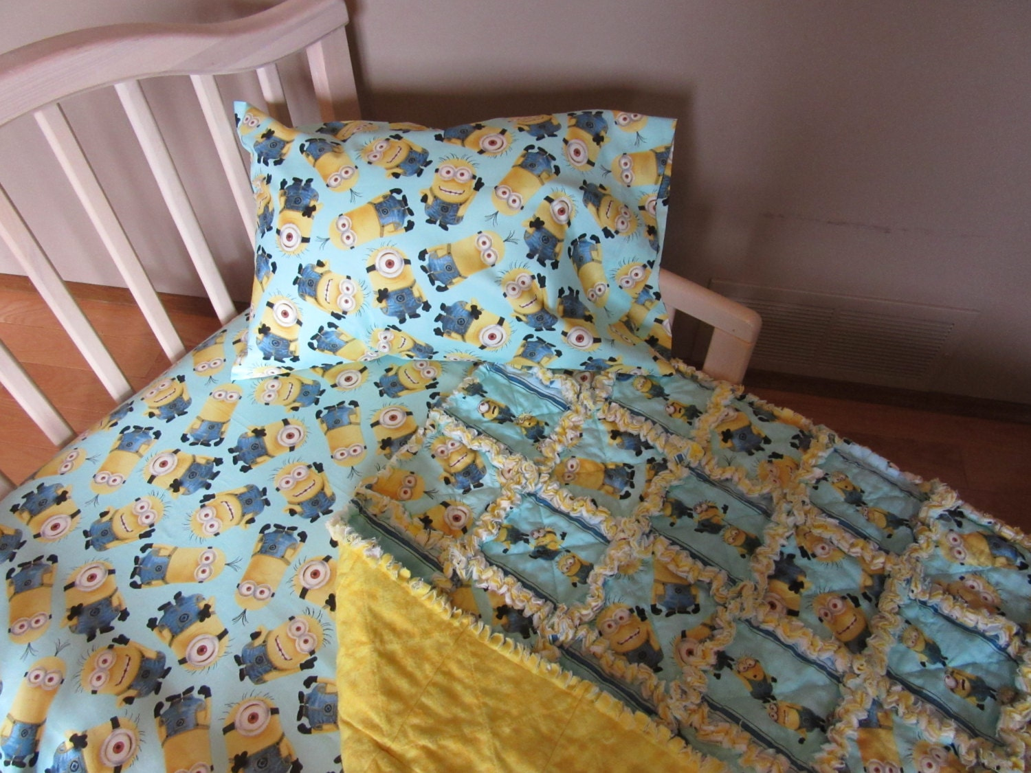 Turquoise Blue Toddler Bed MINIONS Despicable Me Fabric Crib
