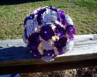 Purple and gray sola flower bouquet   wedding bouquet   bridal bouquet   keepsake flowers   rustic wedding   rustic wedding bouquet