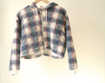 90s grunge FLEECE PLAID quilted FLANNEL hoodie pastel spring hooded sweatshirt