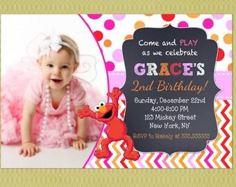 Elmo Birthday Invitations, Girl Sesame Street Invitations, Sesame Street Invitations