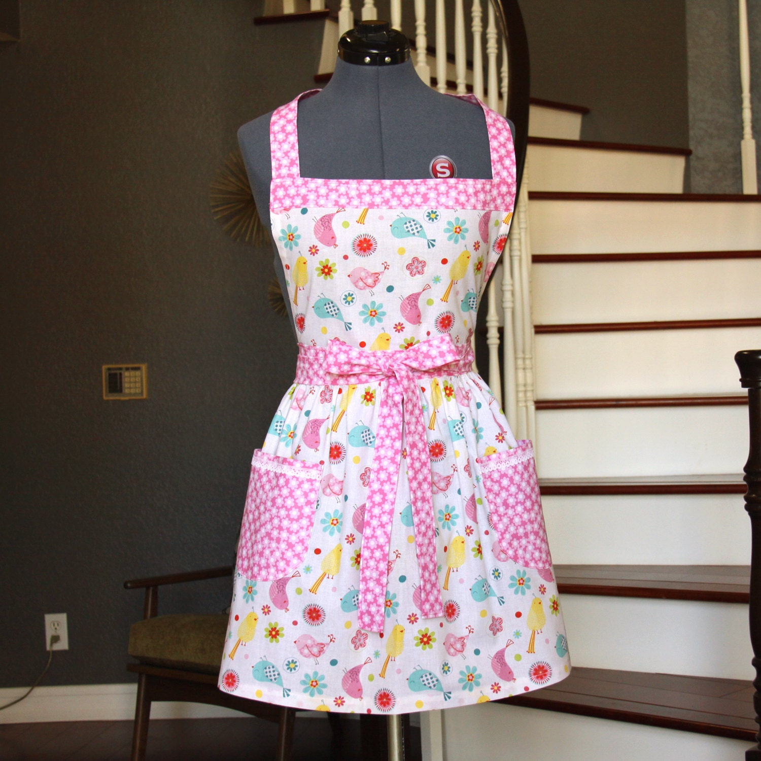 pink aprons for women aprons with pockets womens aprons by. Black Bedroom Furniture Sets. Home Design Ideas