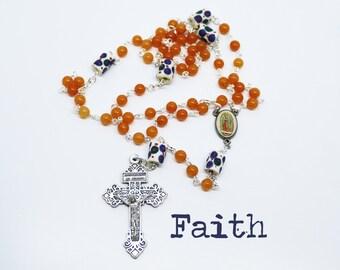 Contemporary Handmade Rosary--Beads--Catholic--Boho--Confirmation--Prayer--African Trade Beads--Quartzite--Vintage--Blue--Orange--Hope--Pray