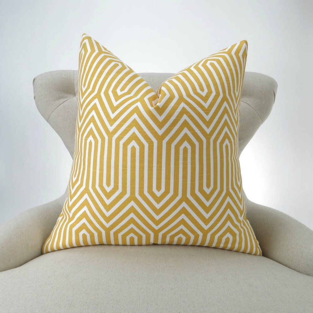 Yellow Geometric Floor Pillow Chevron Zigzag Cushion Big