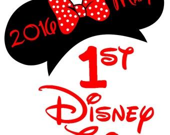 Custom 1st Disney Trip  Minnie Iron on Transfer Decal(iron on transfer, not digital download) first Disney  Matching Disney Family Shirts