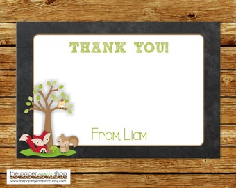 Woodland Creatures Thank You Card | Woodland Creatures Birthday Party Thank You Card | Forest Friends Thank You Card