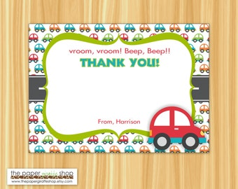 Cute Car Thank You Card | Car Birthday | Car Party for Boys | Thank You Card | Printable
