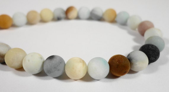 """Matte Amazonite Beads 5mm Round Amazonite Gemstone Beads, Multicolor Natural Stone Beads, Frosted Beads on a 7 1/4"""" Strand with 33 Beads"""