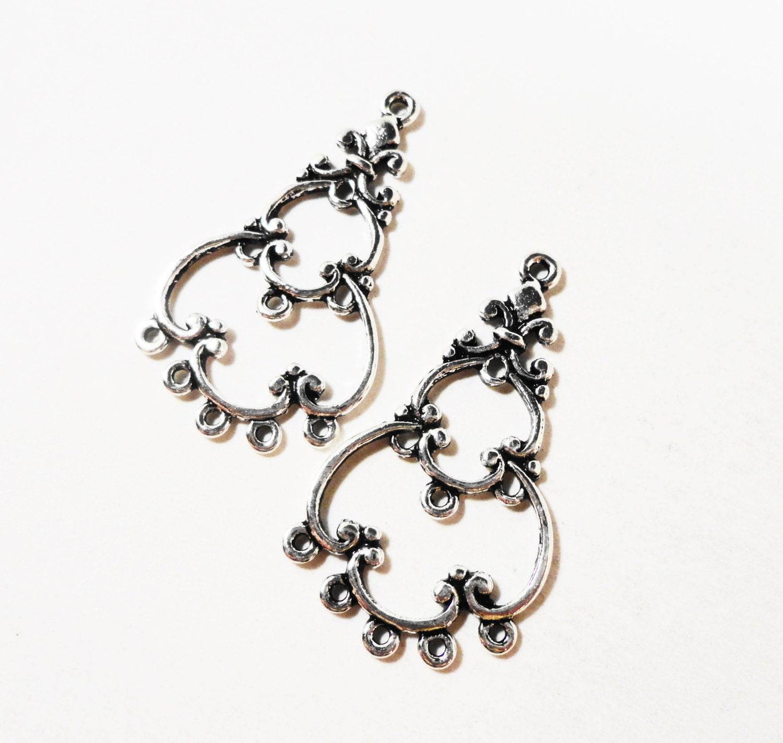 Silver Chandelier Earring Findings 33x19mm Antique Silver Earring ...