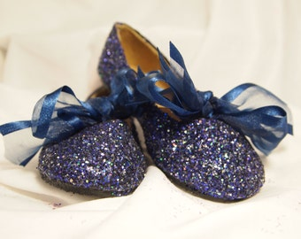 NAVY BLUE Glitter Ballet Flats~Toddler Size 10~With Bow~CLEARANCE Priced~Ready to Ship~One pair Only!