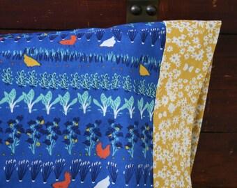Organic Toddler Pillowcase, Organic Travel Pillowcase, Pillowcase, Farmstead, Chickens, Blue