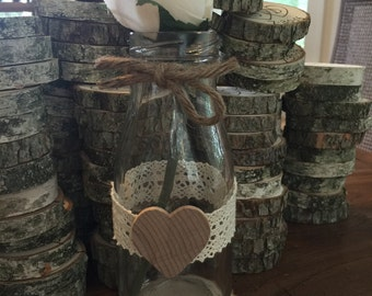 Milk bottle vase Rustic wedding centerpiece vase barn country tree branch flower vase