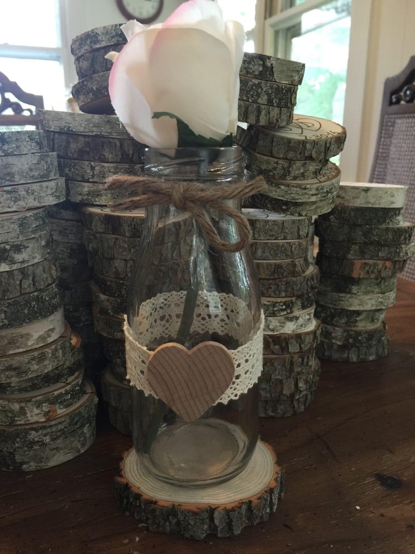 Milk bottle vase rustic wedding centerpiece barn