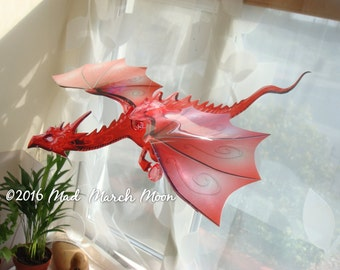 Large Single Dragon Mobile, Iridescent, transparent colour Hanging dragon, 12 colours available