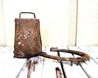 Vintage Primitive Cow Bell Rustic Cowbell Hand Forged Cow Bell Western Decor
