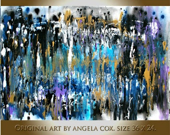 Original Abstract   Blue Aqua Gold   Fluid  Acrylic  Painting. Size 36 x 24.