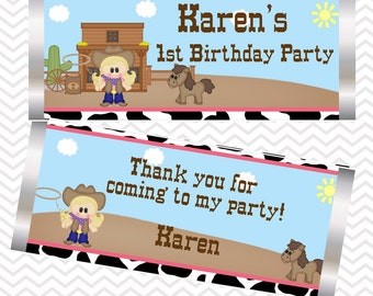 Cowgirl - Personalized Candy Bar Wrapper