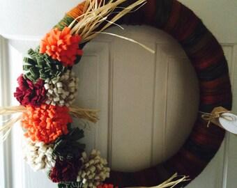 NEW/SALE/Fall Clearance/Fall Yarn Wreath/Felt Flowers/Multicolored/Thanksgiving/Halloween/October/November/18 inch wreath