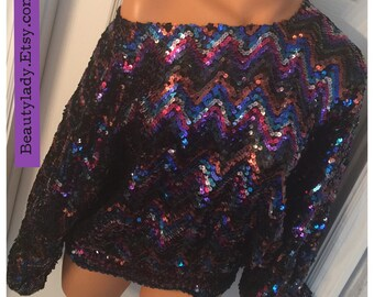 Vintage Classic 1980's Rainbow Sequins Oversized Top Ladies Sz Med 10 USA / Disco Glam Sequins Blouse
