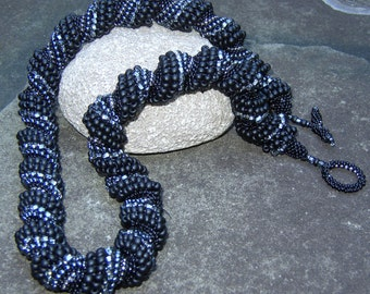 Anthracite, Jet, Black Ice, Bituminous, Crystal, Spirally Beaded Long Necklace, Bead Woven Clasp