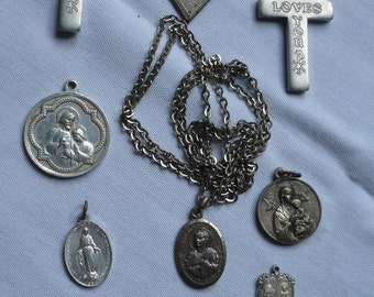 DESTASH Lot Of Religious Medals for Altered Projects,Etc