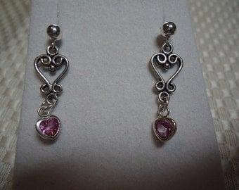Heart Cut Pink Topaz Dangle Earrings in Sterling Silver  1798
