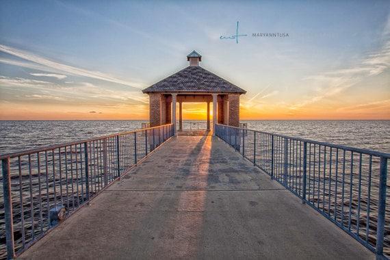 Fishing Dock at Sunset over Lake Pontchartrain in Louisiana