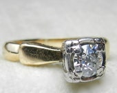 RESERVED for I, 3rd of 3 payments  Engagement Ring .47 Ct tdw Old European Cut Diamond Engagement Ring Diamond Ring 1920s OEC 14K Gold Ring