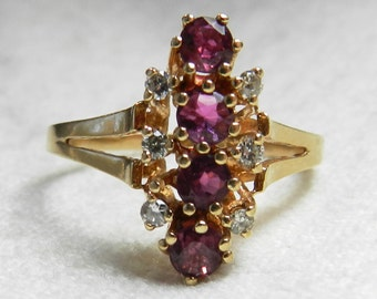 Art Deco Ruby Engagement Ring 14k Gold Ruby Diamond Ring Natural Ruby July Birthday