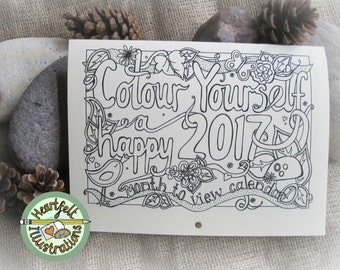 A5 Colour Yourself A HAPPY 2017 CALENDAR - Month to View