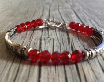 Red Crystal Bracelet, Red Bead Bracelet, Antique Silver Bracelet, Ornate Bracelet, Tube Bead Bracelet, Red Bracelet, Silver Bead Bracelet