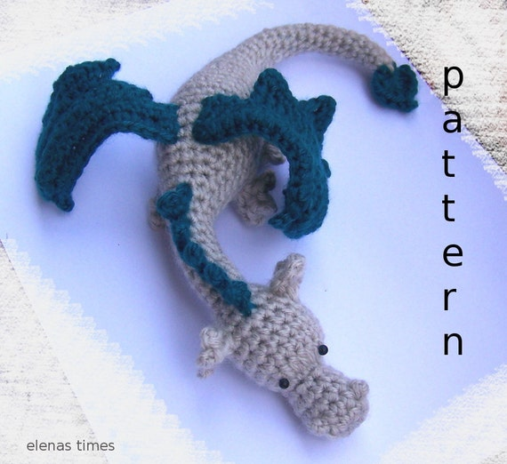 Free Crochet Pattern Dragon Toy : Crochet Baby Dragon-Instant Download Crochet Pattern-Toy