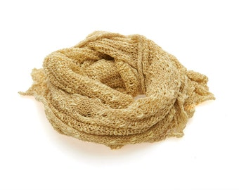 Hand knitted yellow scarf