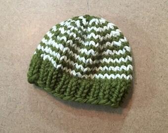 Chunky Knit Baby Boy Hat, Baby Stripe Beanie - Cilantro/Oatmeal