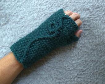 Fingerless Glove . Peacock Blue Gloves . Fingerless Mitten . Fingerless Mitt . Knit Fingerless Glove . Winter Gloves . Aqua Gloves