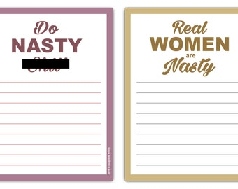 Real Women Do Nasty S*** List Note Pads (2-Pack) Funny Mature Stationery Gift Idea