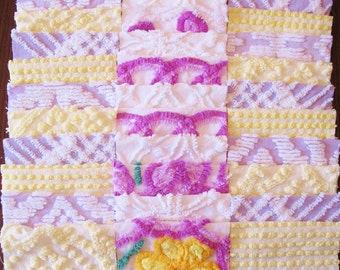 """36 Vintage Chenille Bedspread 6"""" Quilt Squares Fabric Kit Purple Yellow White"""