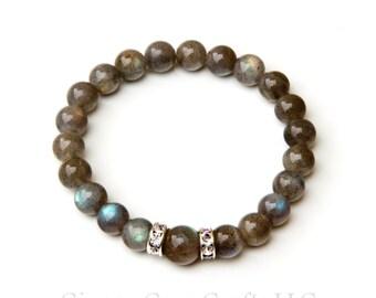 Labradorite bracelet, labradorite jewelry, labradorite mala, healing bracelet, yoga bracelet, labradorite stones, flashy labradorite