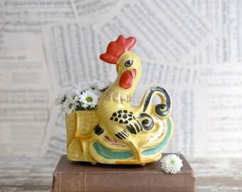 Vintage Yellow Rooster Planter, Yellow Chicken Planter, Farmhouse Kitchen Decor, Country Kitchen Decor, Country Herb Planter
