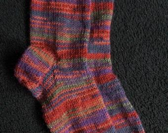 Earth tones Sassi hand knitted woollen socks