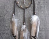 Dream Catcher Chocolate Brown Deerskin with Rare Turkey Feathers