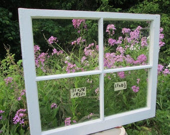 31 x 26 Vintage Window sash old 4 pane frame from 1930s Arts& Crafts